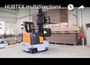 HUBTEX multidirectional counterbalance forklift Flux featuring patented steering technology