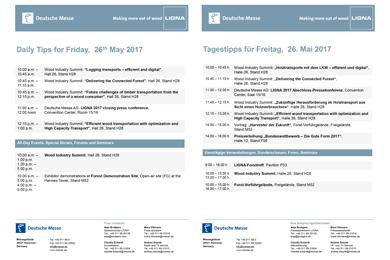 25 May 2017 | Ligna – Press tips for Friday 26th May