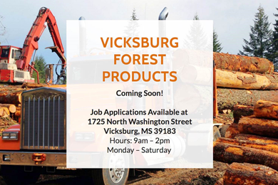 Vicksburg Forest Products opens lumber mill in Vicksburg, Mississippi