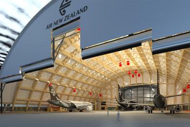 NZ – Massive new hangar in wood