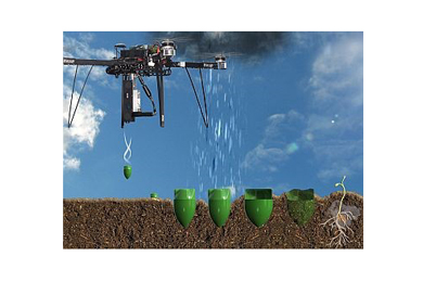 Tree planting drones firing seed missiles