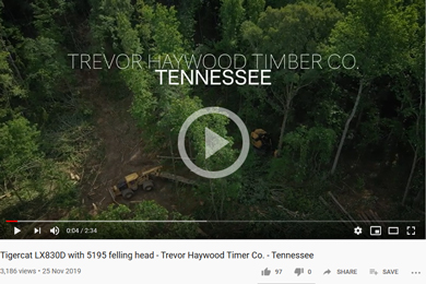 Tigercat LX830D with 5195 felling head – Trevor Haywood Timer Co. – Tennesse