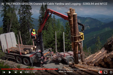 PALFINGER EPSILON Cranes for Cable Yarding and Logging – S280L94 and M12Z